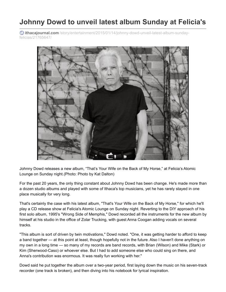 ithacajournal.com-Johnny Dowd to unveil latest album Sunday at Felicias1