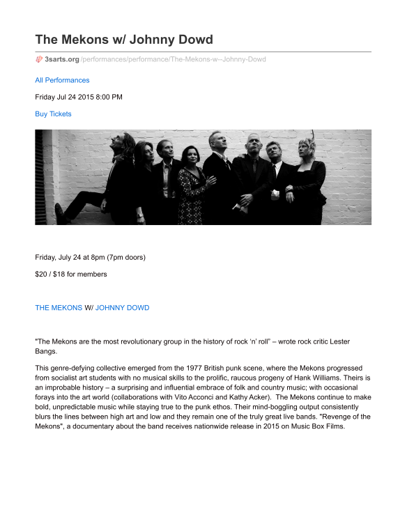 ReviewPressRelease_The Mekons w Johnny Dowd